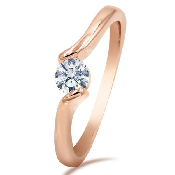 Rose Gold Solitaire Twist Ring - Mini Trinkets