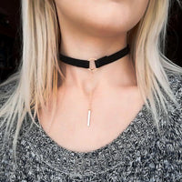 Black Suede Choker / Lariat Style Necklace - Mini Trinkets