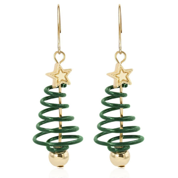 Gold Plated Spiral Christmas Tree Drop Earrings - Mini Trinkets