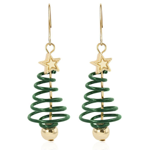 Gold Plated Spiral Christmas Tree Drop Earrings