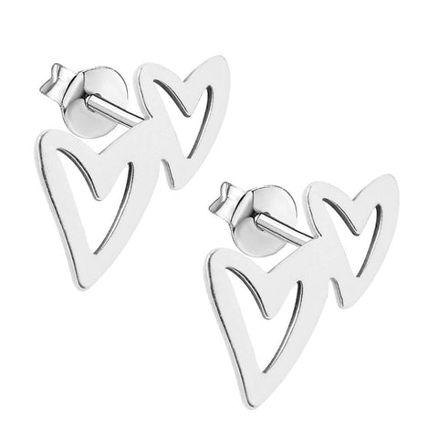 Stainless Steel Stud Earrings - Double Heart