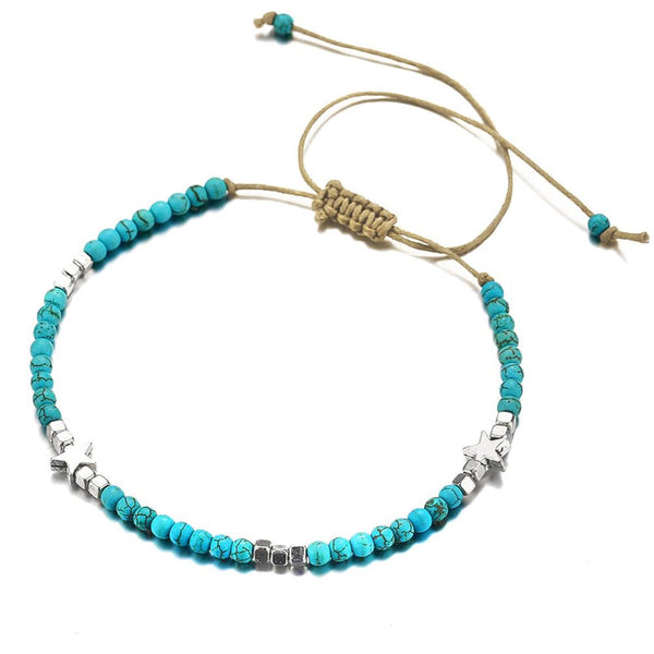 Bohemian Star Beaded Anklet - Turquoise