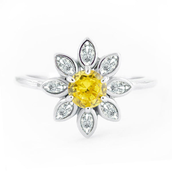 Silver Plated Cubic Zirconia Sunflower / Daisy Ring