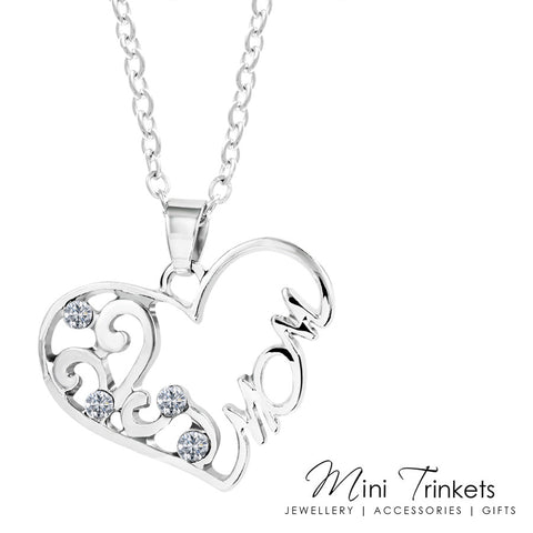 Silver Plated Cubic Zirconia Mom Necklace