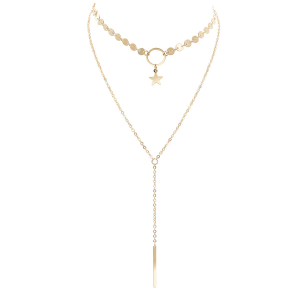 Gold Star Chain Choker Lariat Necklace