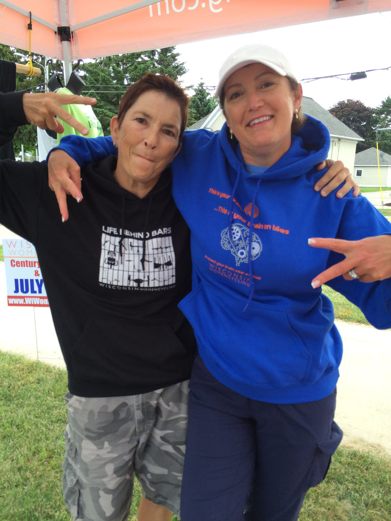 "Jan shown here with Jean in the 'Brain on Bike"" hoodie"
