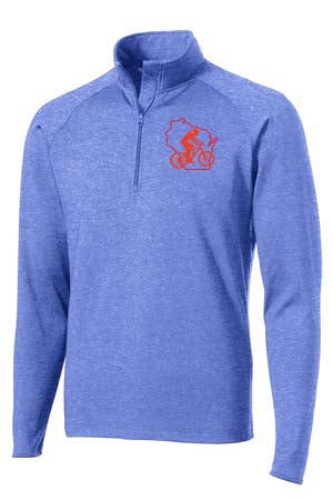 A WWCycling Club Jacket - Men's 1/2-Zip Pullover Royal Blue Heather with logo