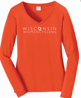 Long Sleeve T-Shirt - WWC on Orange Ladies V-neck