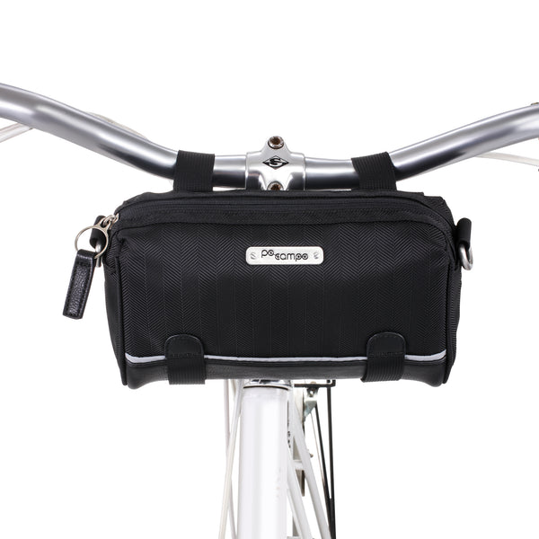 PoCampo Kinga Handlebar Bag - in Black Herringbone, Mosaic or Sky Stripes Polyester
