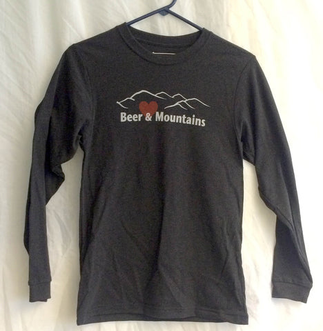 """For Love of Beer & Mountains"" Long Sleeve Shirt with Mountain and Heart Design"