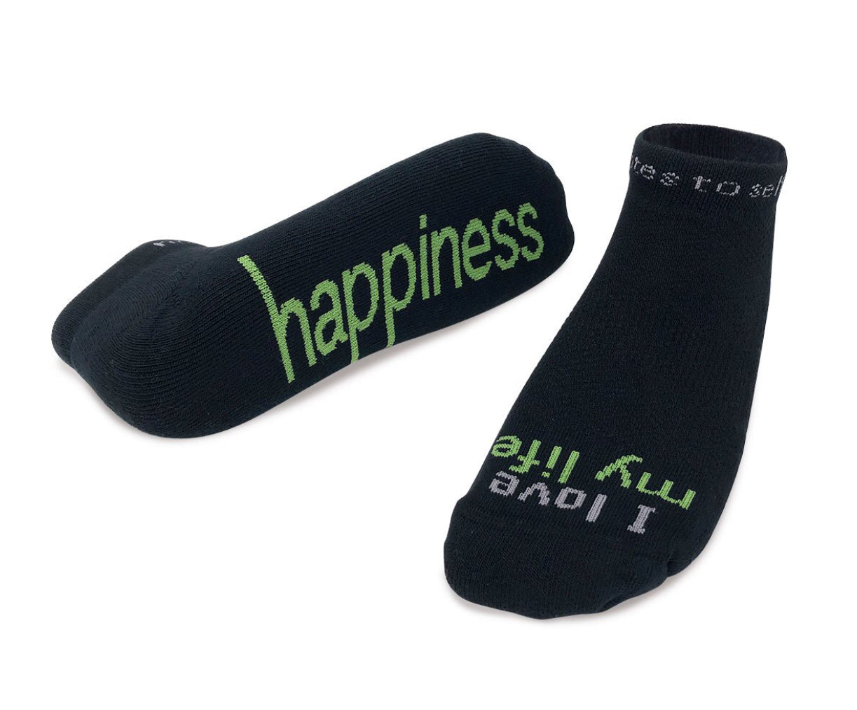 "Notes to Self Socks ""I Love My Life - Happiness"" Black - Multiple Sizes - Novelty Socks, Mens, Womens, Kids"