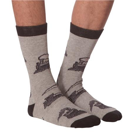 Men's Grey Train Socks - Jilly's Socks 'n Such