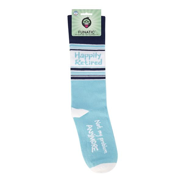 """Happily Retired.. Not my problem."" Socks - One Size - Novelty Socks, Mens, Womens, Kids"
