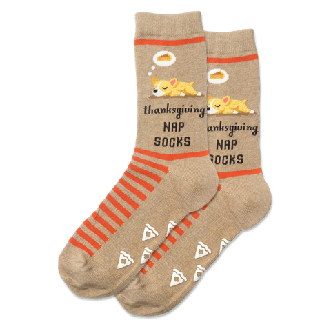 Women's Dog Thanksgiving Nap Socks - Novelty Socks, Mens, Womens, Kids
