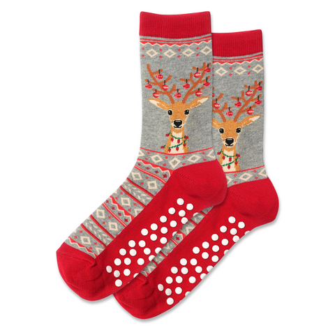 Women's Non-Skid Christmas Reindeer Socks