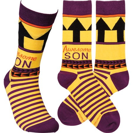 """Awesome Son"" Socks - Primitives by Kathy - One Size - Jilly's Socks 'n Such"