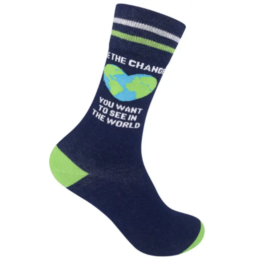 """Be The Change You Want To See In The World"" Socks - One Size - Jilly's Socks 'n Such"