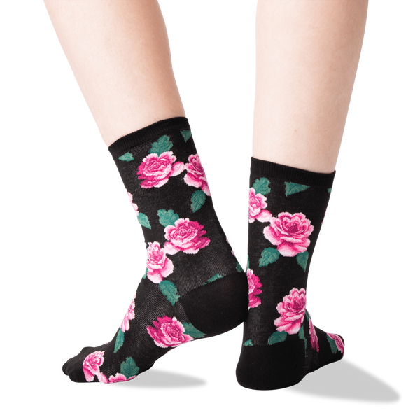Women's Pink Roses Black Socks - Novelty Socks, Mens, Womens, Kids