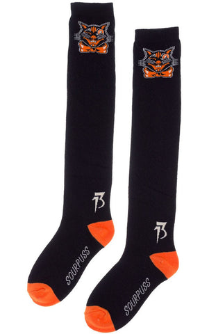 Women's Spooky Cat Halloween Knee Highs Socks - Novelty Socks, Mens, Womens, Kids