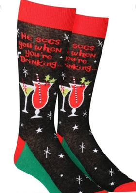 "Men's ""He Sees You When You're Drinking"" Christmas Socks"