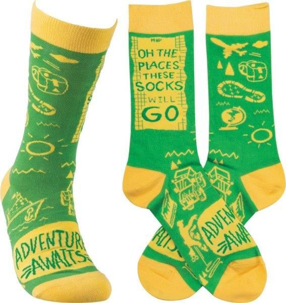 """Oh the Places These Socks will Go"" Socks - One Size - Novelty Socks, Mens, Womens, Kids"