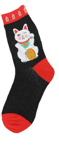 Women's Chinese Lucky Cat Black Socks - Novelty Socks, Mens, Womens, Kids