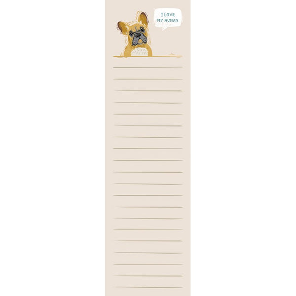 "French Bulldog ""I Love My Human"" List Notepad Tablet - Jilly's Socks 'n Such"