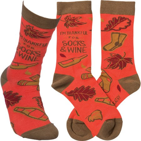 I'm Thankful for Socks & Wine - Primitives by Kathy One Size - Novelty Socks, Mens, Womens, Kids