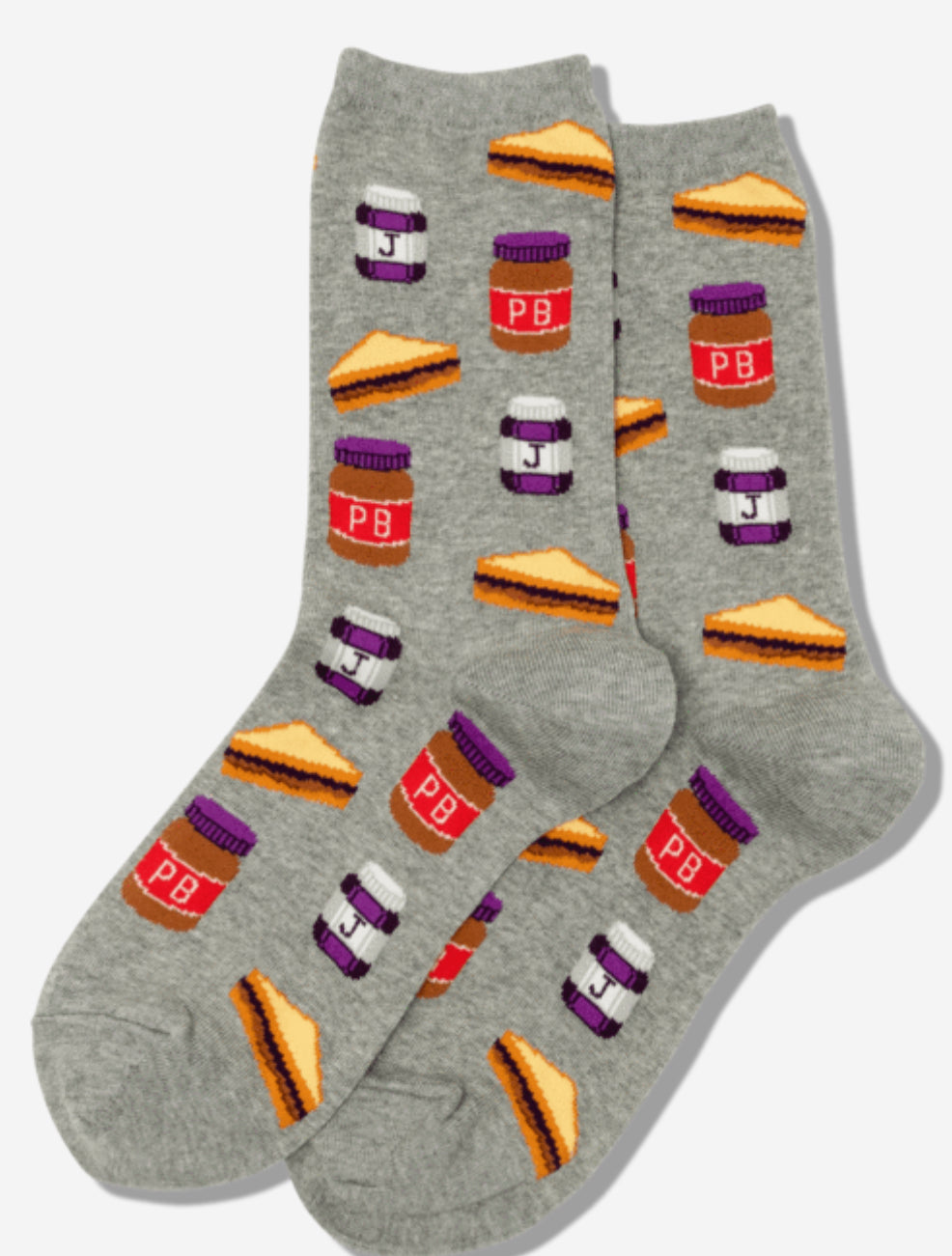 HotSox Women's PB and J Grey Socks - Novelty Socks, Mens, Womens, Kids
