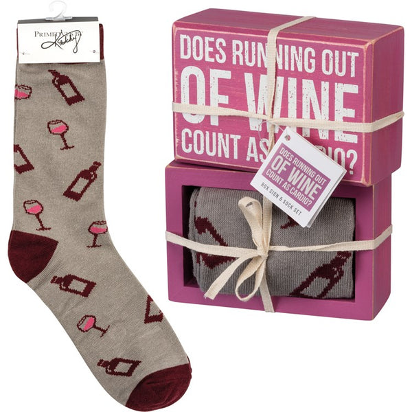 """Running Out Of Wine"" - Box Sign and Sock Set - Jilly's Socks 'n Such"