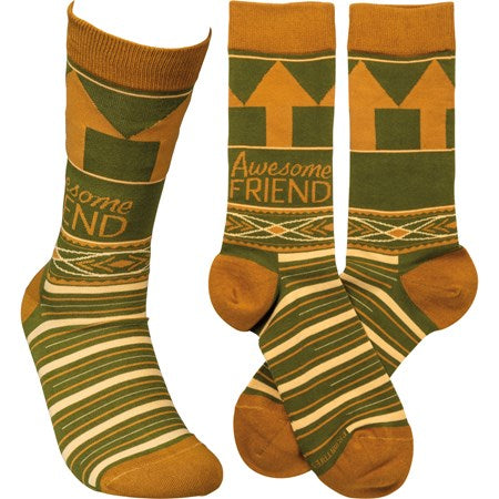 """Awesome Friend"" Socks - One Size - Jilly's Socks 'n Such"