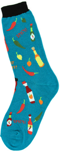 Women's Turquoise Hot Sauce Socks - Novelty Socks, Mens, Womens, Kids