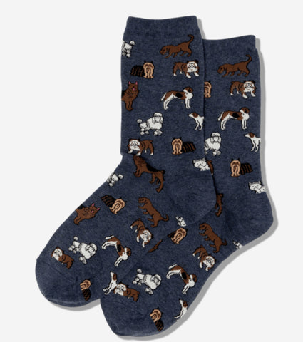 Women's Navy Dog Breed Socks - Novelty Socks, Mens, Womens, Kids