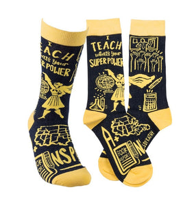 """I Teach, Whats your Super Power?"" Socks - One Size"