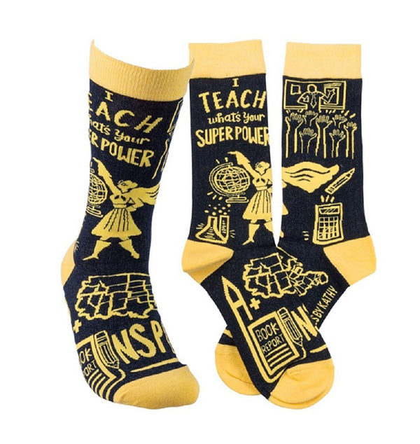 """I Teach, Whats your Super Power?"" Socks - One Size - Jilly's Socks 'n Such"