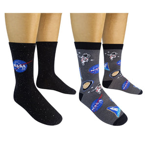 Two Pack NASA Space Socks - One Size - Novelty Socks, Mens, Womens, Kids