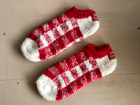 Women's World's Softest Fuzzy Ankle Socks - Red White Check