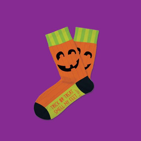 Kid's Jack-O-Lantern Pumpkin Socks - Novelty Socks, Mens, Womens, Kids
