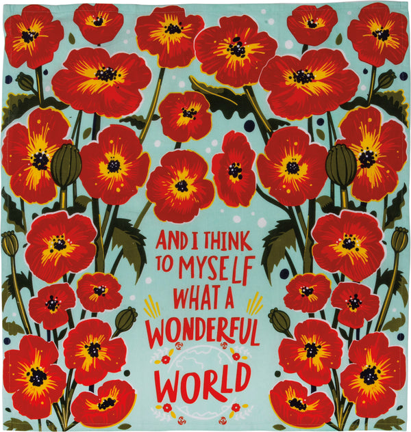 What a Wonderful World Kitchen Towel - Blue - Jilly's Socks 'n Such