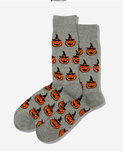 Women's Halloween - Gray Pumpkin Witch Socks