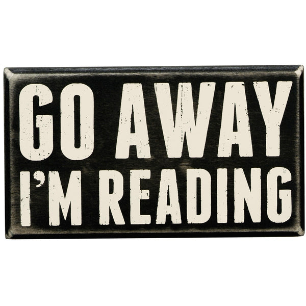 """Go Away I'm Reading"" Box Sign - Novelty Socks, Mens, Womens, Kids"