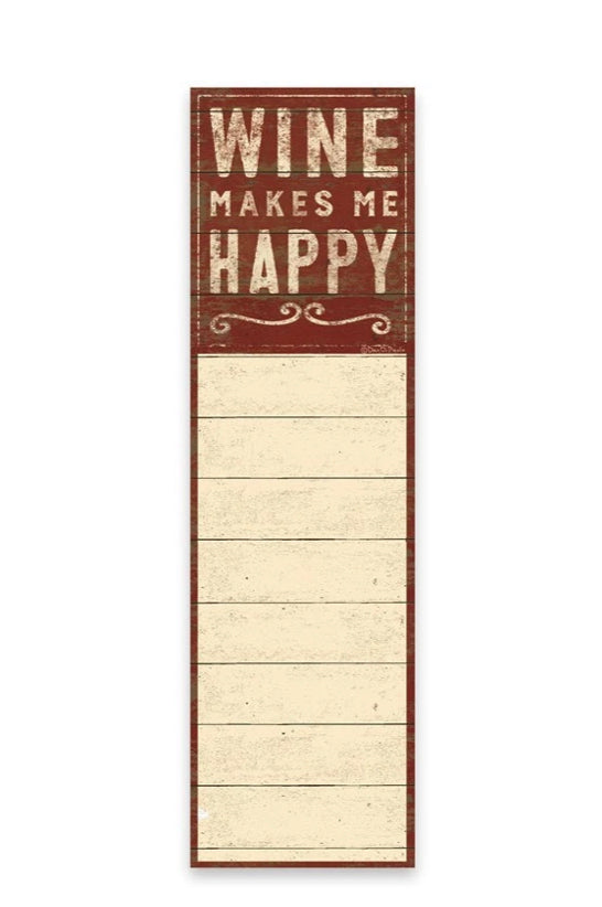 """Wine Makes Me Happy""  List Notepad Tablet - Jilly's Socks 'n Such"