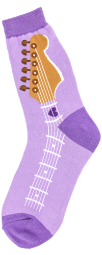 Women's Purple Guitar Rock Out Socks - Novelty Socks, Mens, Womens, Kids