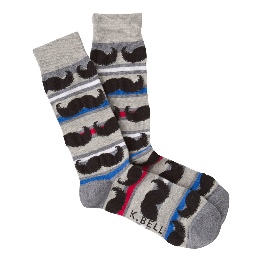 Mens Striped Mustache Socks - Novelty Socks, Mens, Womens, Kids