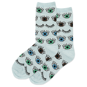 Women's Eyes/ Eyelashes Green Socks - Novelty Socks, Mens, Womens, Kids