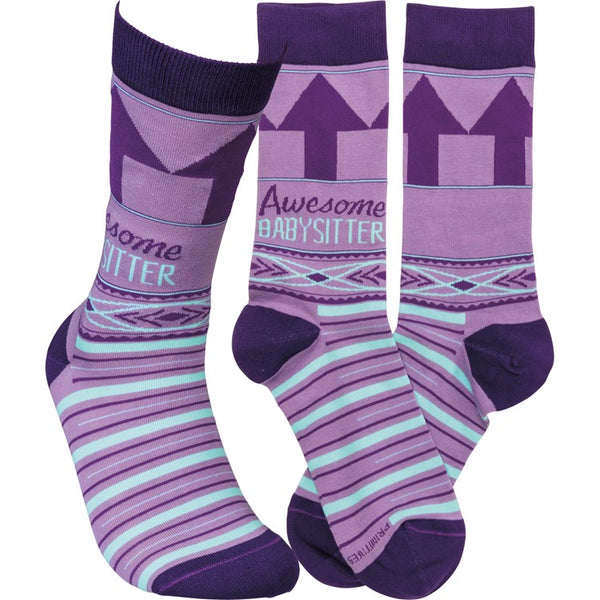 """Awesome Baby Sitter"" Socks - One Size - Jilly's Socks 'n Such"