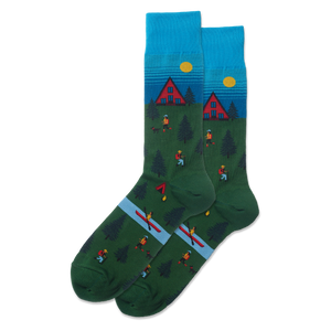 Men's Hiking Cabin Scene Socks - Novelty Socks, Mens, Womens, Kids