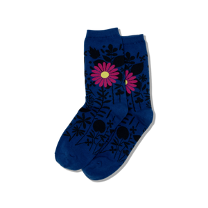 Women's Pink Flower Blue Socks - Novelty Socks, Mens, Womens, Kids
