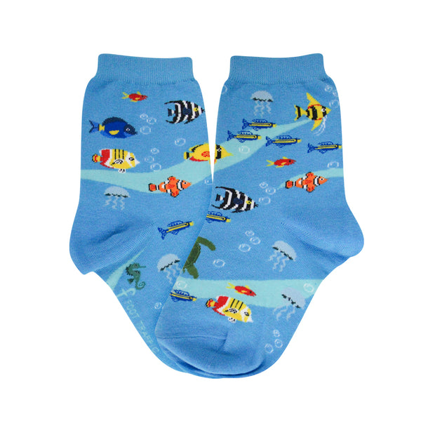 Kid's Blue Fish Aquarium Socks - Jilly's Socks 'n Such