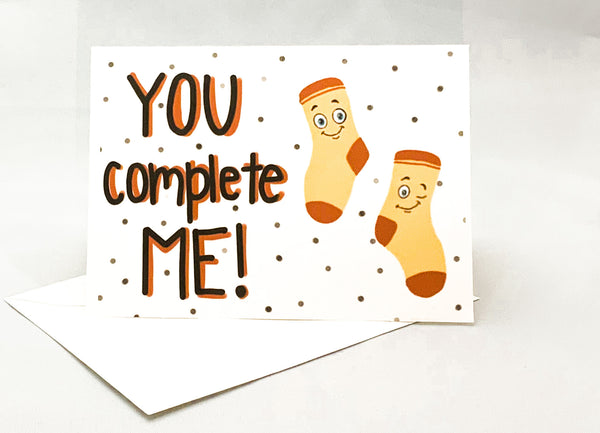 """You Complete Me"" Jilly's Greeting Card - Novelty Socks, Mens, Womens, Kids"